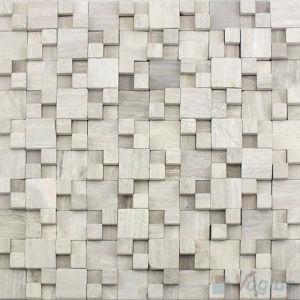 Mosaico gris de madera ca do del azulejo de la pared de for Mosaico madera pared