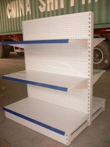 Double armoire d'affichage latérale de présentoir d'épicerie d'aménagement en métal