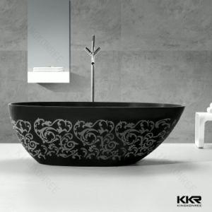 vasca da bagno di pietra moderna di superficie solida nera della stanza da bagno