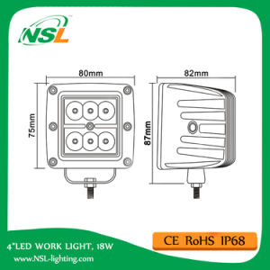 """3 """" lumière pilotante fonctionnante automatique de la lumière 6 DEL de 18W DEL pour tous terrains, ATV, éclairage automobile de 4X4 DEL"""