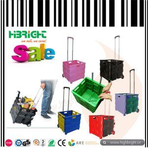 Caja plegable pl stica del carro de compras con dos ruedas for Cajas plasticas con ruedas