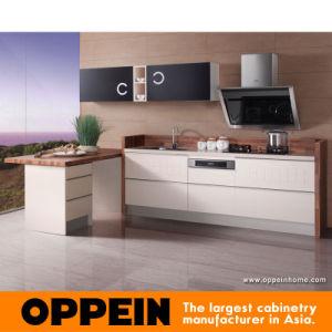 PVC amarillo del albaricoque y gabinete de cocina de madera de la laca negra (OP13-277)