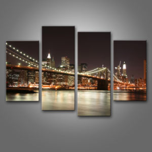 co mepaart product New York City Bridge  Pieces Canvas Painting Home Decoration eihyuerug