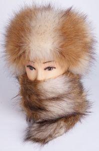 100% PolyFox Fur Winter Warm Hats und Scarves