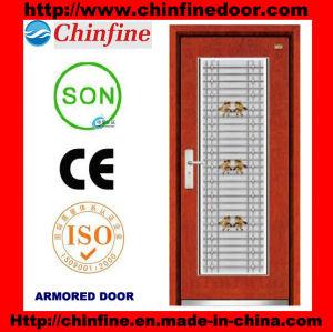 Porte blindée en acier et bois avec fenêtre en acier inoxydable (CF-M044)