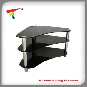 muebles de cristal del negro del soporte de la esquina tv tv