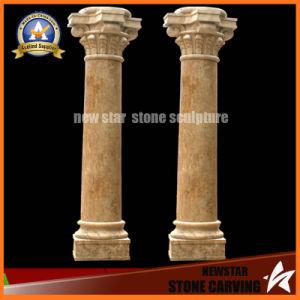 Beige marbre pierre carving d coration colonne romaine ns for Decoration romaine