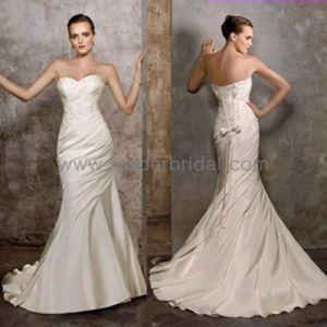 Vestido de boda de la sirena del vestido de novia de la boda sin tirantes de satén champagne (W175)