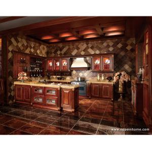 Lujo madera sólida del gabinete de cocina de diseño de muebles (OP13-341)
