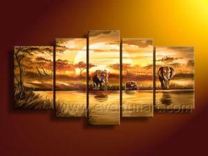 Pintura al óleo abstracta africana hecha a mano de la lona del elefante (AR-103)