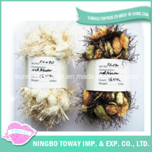 Do POM-POM feito sob encomenda dos cabelos do poliéster do bebê fio extravagante de confeção de malhas (FY-070)