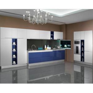 Muebles brillantes blancos y azules modernos de la cocina de la laca (OP13-294)