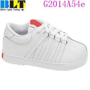 Sapatos de sapatilha de estilo tênis de couro clássico da menina Blt