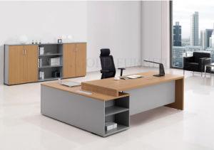 Moderna escritorio de melamina oficina ejecutiva negro for Lista de muebles de oficina