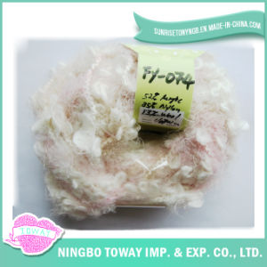 Bebê que tricota manualmente o fio extravagante do Boucle de nylon acrílico de lãs (FY-074)