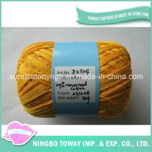 Fio de lãs de confeção de malhas mercerizado algodão 100% da linha do Crochet na esfera