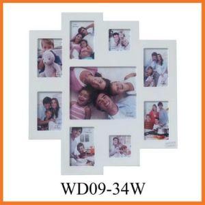Раскрывая деревянное белое искусствоо стены рамки фотоего коллажа 9 (WD09-34W)