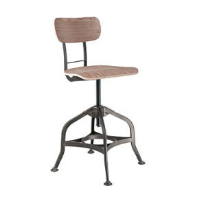 tabouret de barre industriel r glable en bois de qualit avec le dos fs 14037d 2 tabouret de. Black Bedroom Furniture Sets. Home Design Ideas
