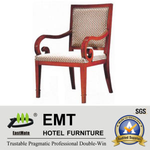 Chaise en bois d'hôtel de conception spéciale d'accoudoir (EMT-HC75)