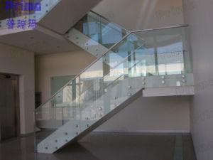 vidrio templado escalera barandilla con pasamanos de acero inoxidable