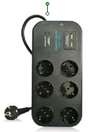 6 дорога Германия Power Outlet, с защитой от перенапряжения, с USB Charger