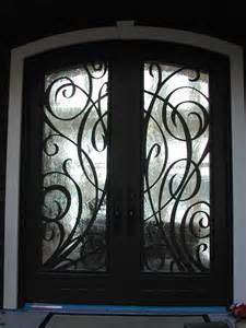 puertas de entrada decorativas del hierro labrado del bajo costo uidd