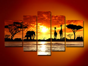 papier peint africain de peinture de toile de coucher du. Black Bedroom Furniture Sets. Home Design Ideas