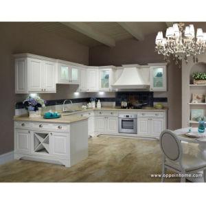 Cabinet de cuisine en bois blanc beige de l 39 u forme pp d - Cuisine en forme de l ...