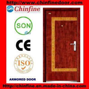 Portes blindées en acier-bois utilisées populaires (CF-M029)