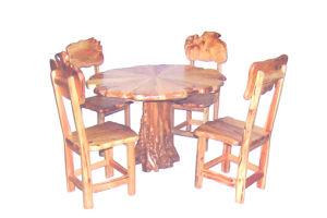 2015 nouvellement Tableaux ronds en bois confortables et chaises de racine