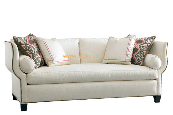 (CL-6615) Classic Hotel Restaurant Lobby Furniture Wooden Fabric Leather Sofa