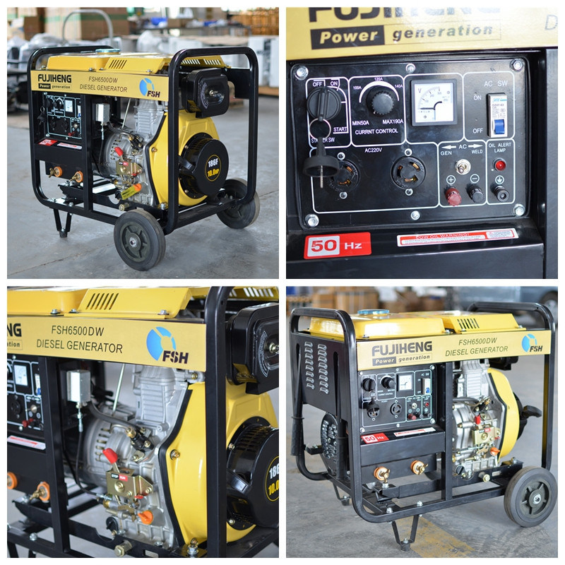 Portable Welding Type Diesel Generator 5kw with Wheels