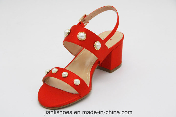 2018 Fashion Pearl Low Heeled Women Sandals Shoes (HSA32)