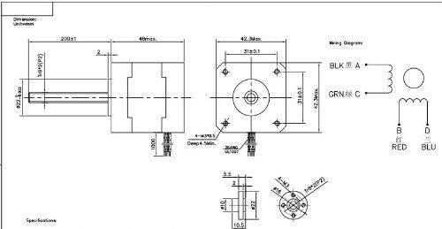 moteur de progression de pas de 12v nema17 avec la vis