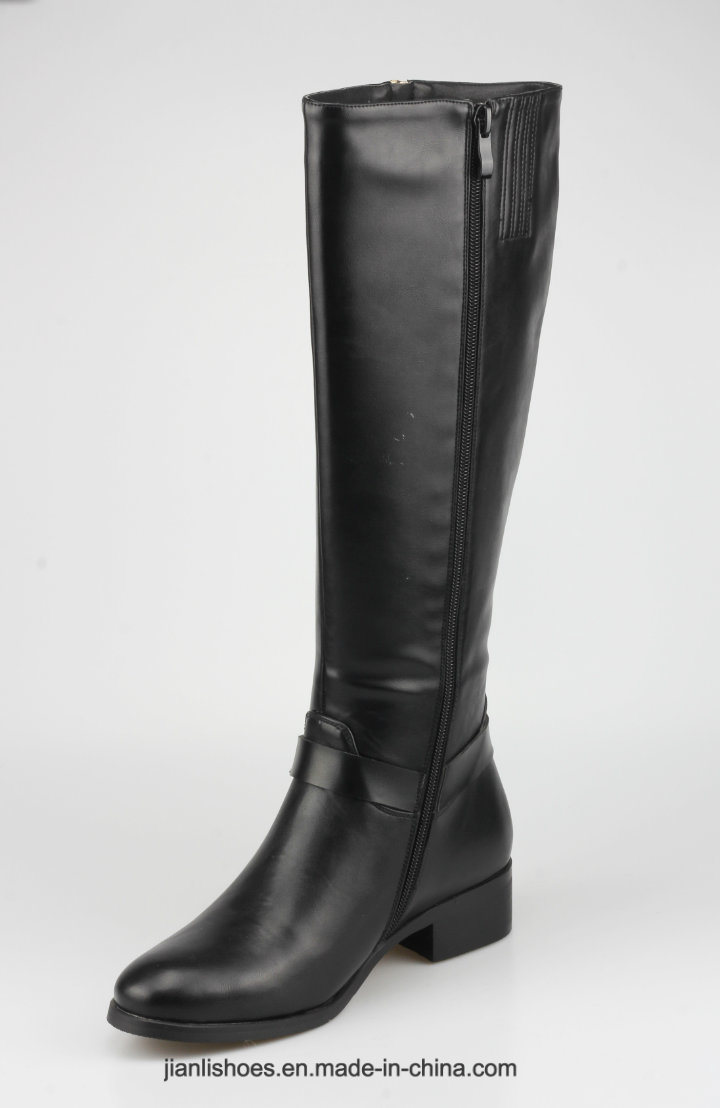 2018 England Style MID-Calf PU Boots Buckle and Zipper Women Shoes (BT742)