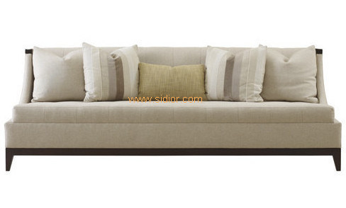 (CL-6621) Classic Hotel Restaurant Lobby Furniture Wooden Fabric Leather Sofa