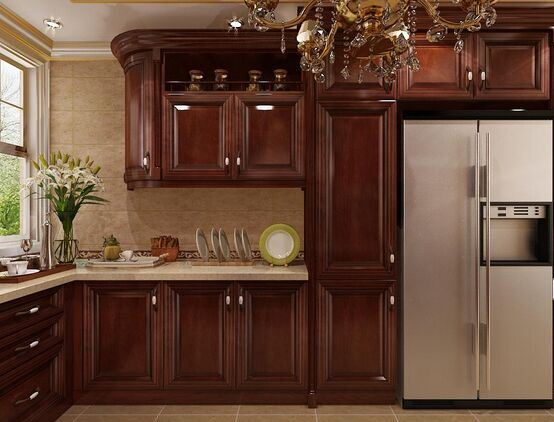 China American Style Solid Wood Walnut Kitchen Cabinet (w3