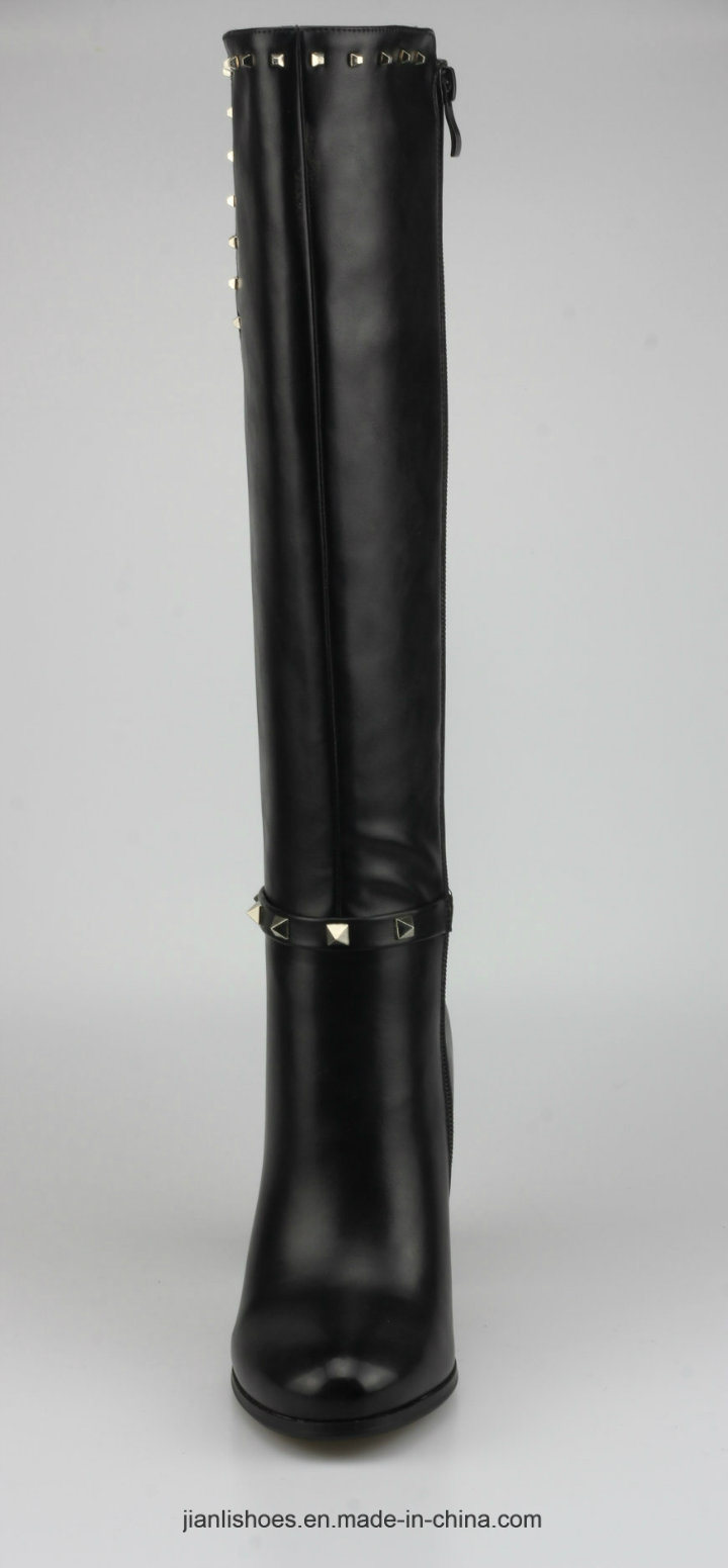 2018 Classic Style PU Knee-High Women Boots with Sexy Decoration (BT750)