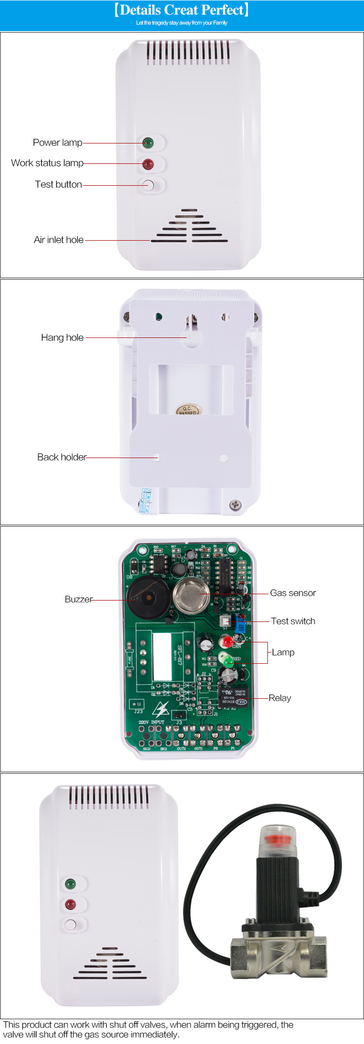 China Home Safety LPG Gas Leak Detector Price Work with ...