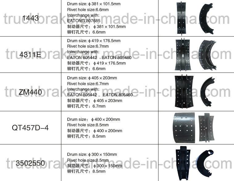 Brake Lining Measurements : Meritor rockwell lined brake shoe lining eaton