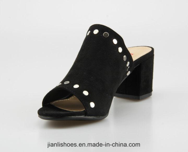 2018 Women Mules Block Heel Slippers Open Toe Dress Sandals (MU207)