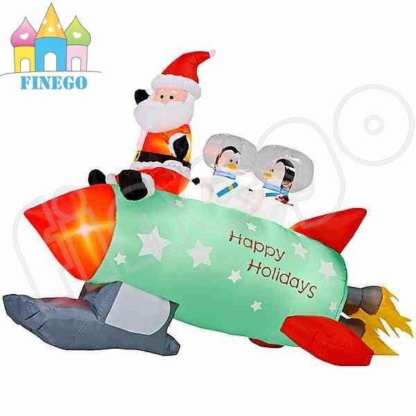 China christmas inflatable santa claus driving snowmobile
