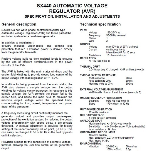 Alternator-Generator-Parts-Automatic-Voltage-Regulator-Sx440  Phase Generator Wiring Diagram With Pmg And Mx Avr on