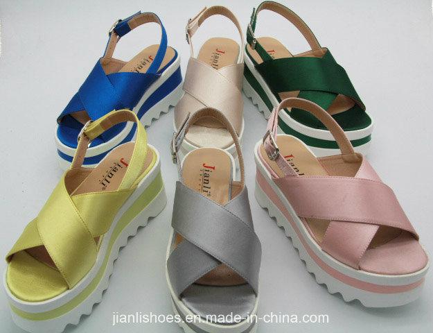 201ccc59225e 2018 letné dámy farebné PU a Fabric ženy sandále topánky (PSA 013 ...