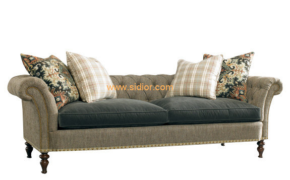 (CL-6616) Classic Hotel Restaurant Lobby Furniture Wooden Fabric Leather Sofa