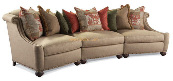 (CL-6612) Classic Hotel Restaurant Lobby Furniture Wooden Fabric Leather Sofa