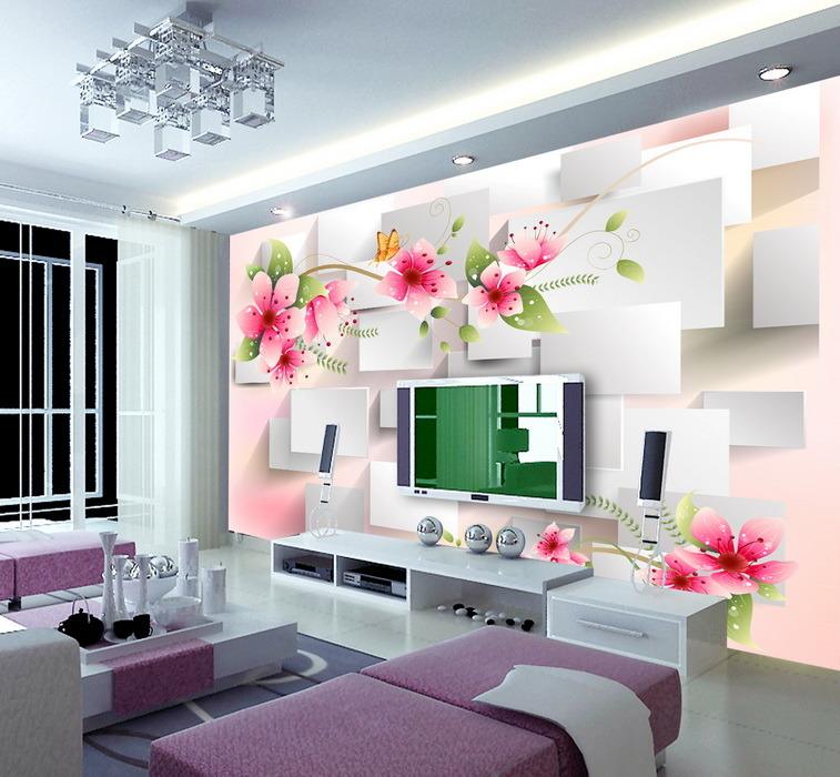 가정 훈장 색칠을%s 분홍색 꽃 디자인 벽지 현대 작풍 – 가정 ...