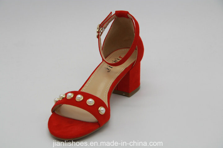 Classic Style Flat Sandals with Peals Decoration (HSA35)