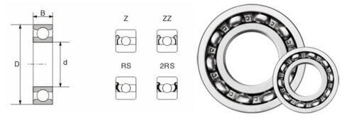 Gcr15 Automobile Ball Bearing 6202ZNR F&D Deep Groove Ball Bearing