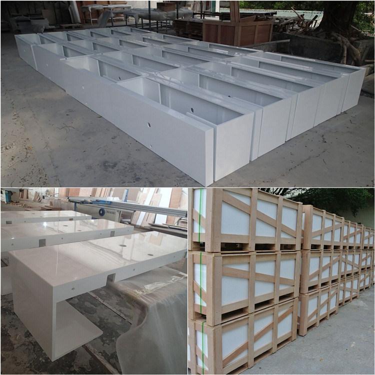 China Long Narrow Artificial Quartz Stone Ktichen Prefab